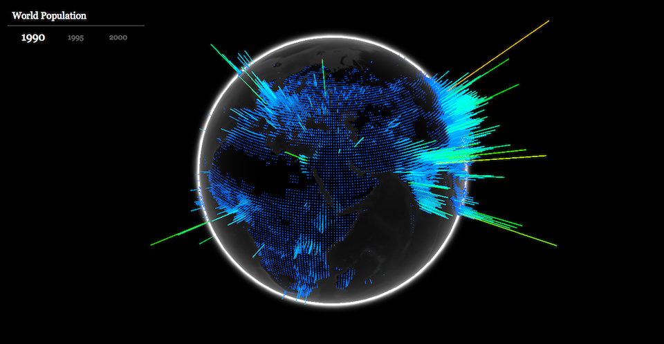 WebGL globe geographic data visualisation - world population