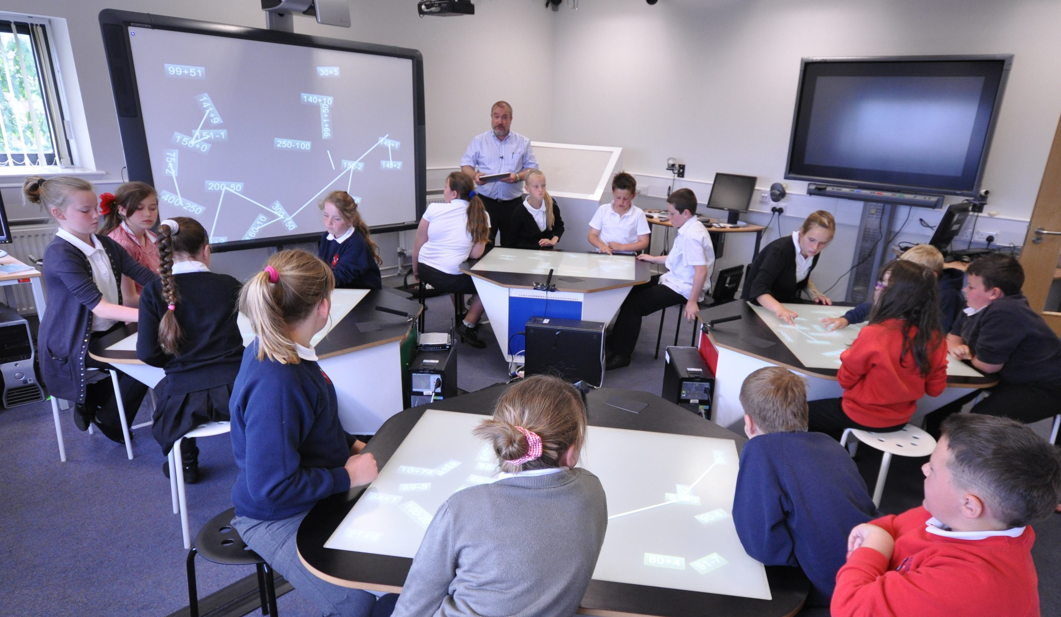 classroom future classrooms tech technology education elementary desk learning desks tables touch multitouch room multi collaboration digital college waack spaces