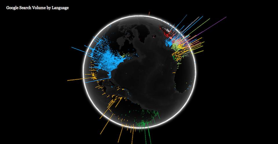 WebGL globe geographic data visualisation - search volume