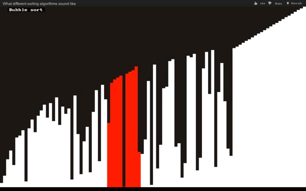Bubble sort algorithm - Visualization and sonification / audification