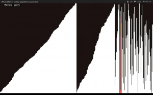 Merge sort algorithm - Visualization and sonification / audification